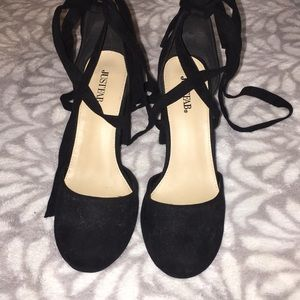 Just fab black heel wedges
